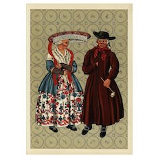 Vintage original costume print from costumes of Netherlands whimsical art