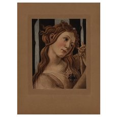 19th century Sandro Botticelli Original rare large  Engraving