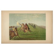 19th Century,Original,Antique,Hand colored,Print Of American Indians,Chiefs from.George Catlin,first colored Edition.