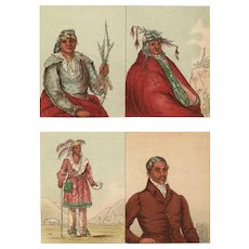 19th Century,Original,Antique,Hand colored,Print Of American Indian,Chiefs from.George Catlin,first colored Edition.