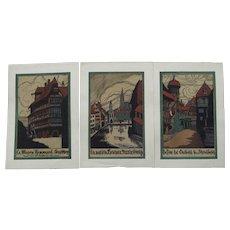 Set of three,Vintage Japanese Wood block prints of Strasbourg Circa 1930's