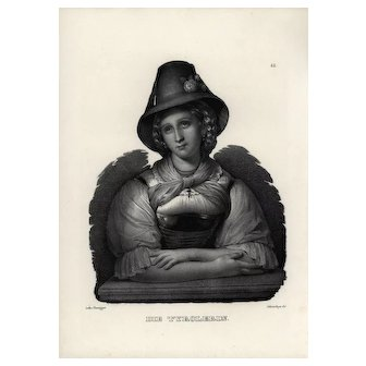 19th century,Authentic,1842,Natural History,Print of Victorian Lady,black and white,zoology print