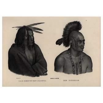 19th century,Authentic,1842,Natural History,Print Human Race-Wah Menitu,black and white,zoology print