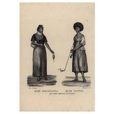 19th century,Authentic,1842,Natural History,Print of human races,black and white,zoology print A Mamoluka and a Cafusa from the provi