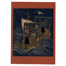 19th century,Japanese,lithograph print,Large folio. Battle ship, boat