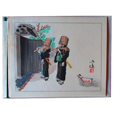 Gorgeous,Original,woodblock print, from life and customs,by Wada Sanzo,circa 1950-1969,Japanese,woodblock print