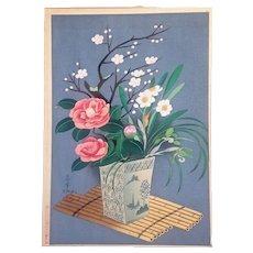 1950's ,Original,Ohno,Bakufu,Japaese,woodblock print,flowers in Vase winter