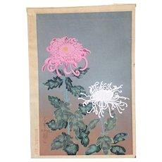 1950's,Original,Ohno,Bakufu,Japaese,woodblock print,flowers,Chrysanthemum,Original,