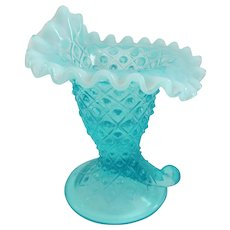 Fenton Diamond Lace Blue Crested Opalescent Cornucopia - 1940s