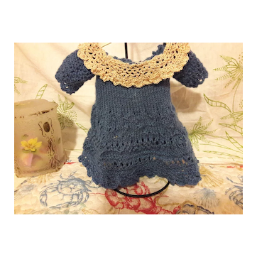 Beautiful knitted dress for your antique doll