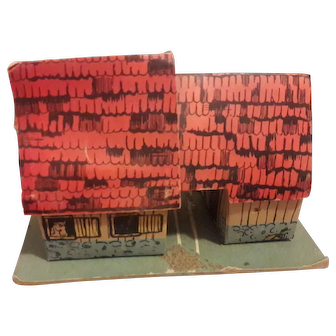 Tiny German lithographed dollhouse