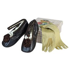 Antique Leather Doll Shoes and Doll Gloves