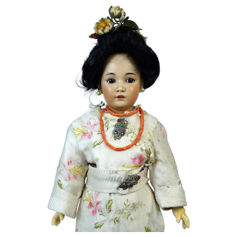Simon & Halbig 1329 Oriental Rare Antique German Bisque Head Doll