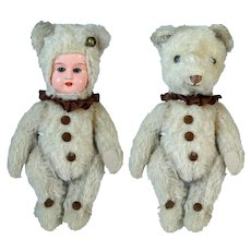 Rare antique German two faced  Teddy Bear by Hermann