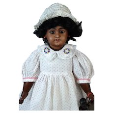 Black Simon & Halbig S&H 1009 ST Antique German Bisque Head Doll