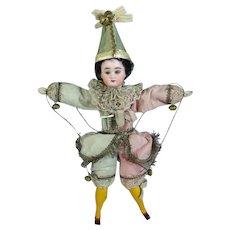 Antique German Bisque Head Doll Polichinelle Jester