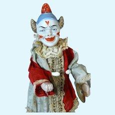 Rare Antique German Bisque Head Doll Clown Jester