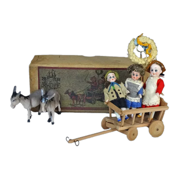 Donkey Carriage with 3 Tiny Bisque Dolls