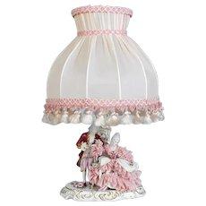 Old German Dresden Porcelain Lace Figurine Boudoir Lamp