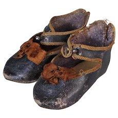 Original Antique French Doll Shoes Bebe Jumeau Depose Size 11