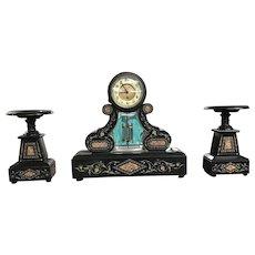 19 Century 3 Piece Mantle Clock