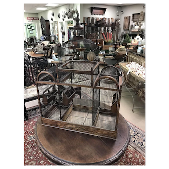 Antique Wood and Metal Birdcage