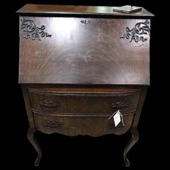 Antique Tiger Oak Bow Front Bureau
