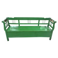 Pine European Green Bench with storage