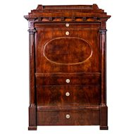 Biedermeier Secretary Desk Veneered with Mahogany, Circa 1840