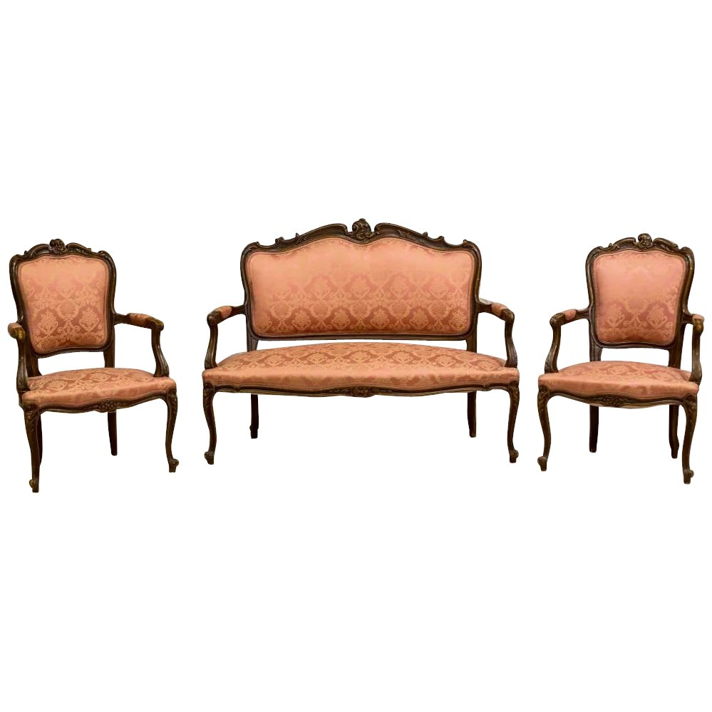 French Living Room Set in Rococo Style end of 19th Century - 3 parts ...
