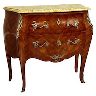 French Bombe Commode with Marble Top from 1930