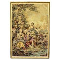 Tapestry in Frame Depicting Genre Scene - France 1930