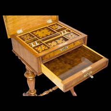 Eclectic Sewing Table with Intarsia ca. 1890