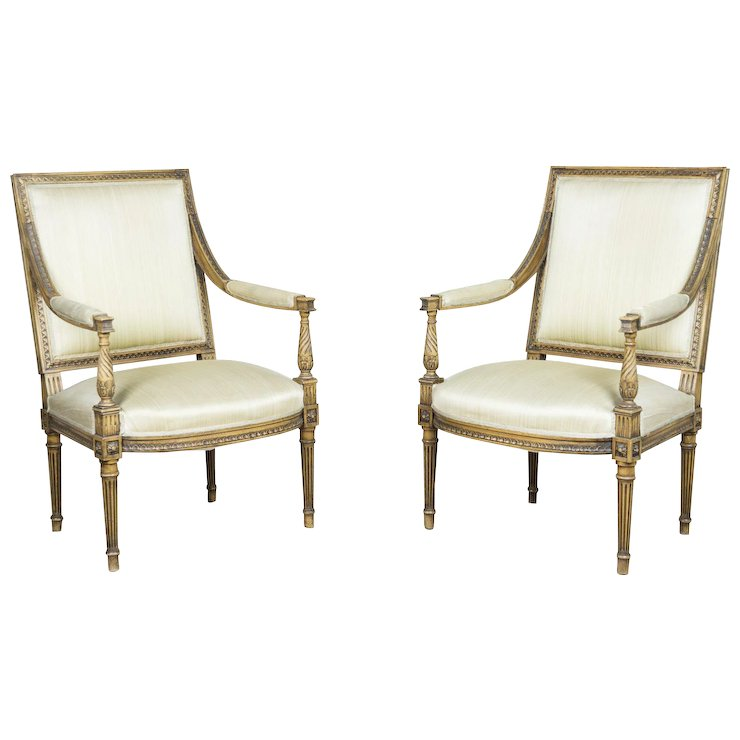 Marvelous Two Antique Armchairs In The Louis XVI Style