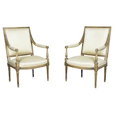 Two Antique Armchairs in the Louis XVI Style