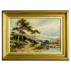 Landscape in a Golden Frame - Signed Carl Brennir (1850 -1920)