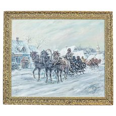 """""""Troika"""" -signed Z.Z. Cygan (1890 - ?) Oil Painting in a Golden Frame"""
