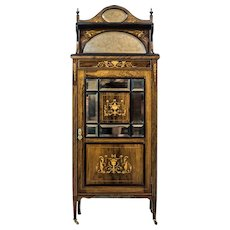 19th-Century Rosewood Cabinet with Intarsias