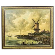 Oleograph with the Dutch Landscape, Circa the 1930s
