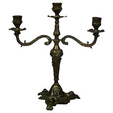 Brass, Three-Arm Candlestick