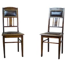Pair of Signed 20th-Century Art Nouveau Oak Chairs