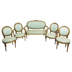 19th-Century Walnut Parlor Set in the Louis XVI Type