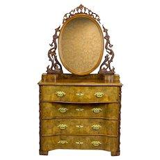 19th-Century Louis Philippe Walnut Vanity Table