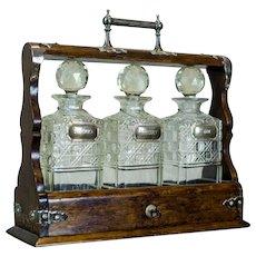 English Liquor Decanters in a Case, Circa 1900