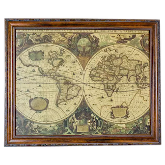 19th-Century Graphic with a Hydrographic World Map