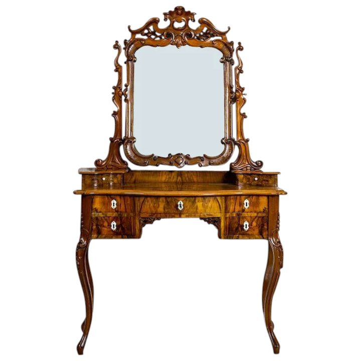 check out 61892 2debb 20th-Century Neo-Rococo Walnut Vanity Table