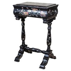 19th-Century Inlaid Sewing Table in Black Lacquer