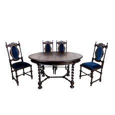 19th-Century Eclectic Oak Carved Table with Chairs