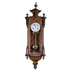 19th-Century Eclectic Regulator Wall Clock