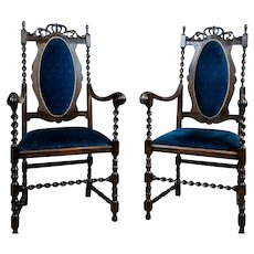Pair of 20th-Century Eclectic Carved Armchairs